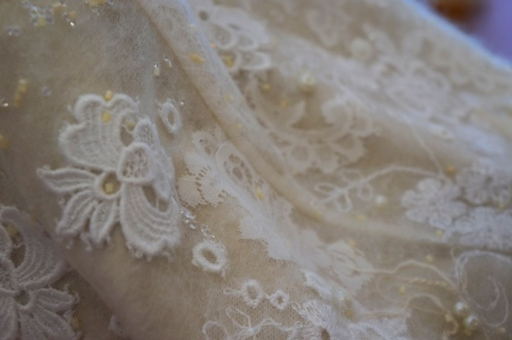 Beautiful handmade wedding dress fabric with lace and swarovski crystals