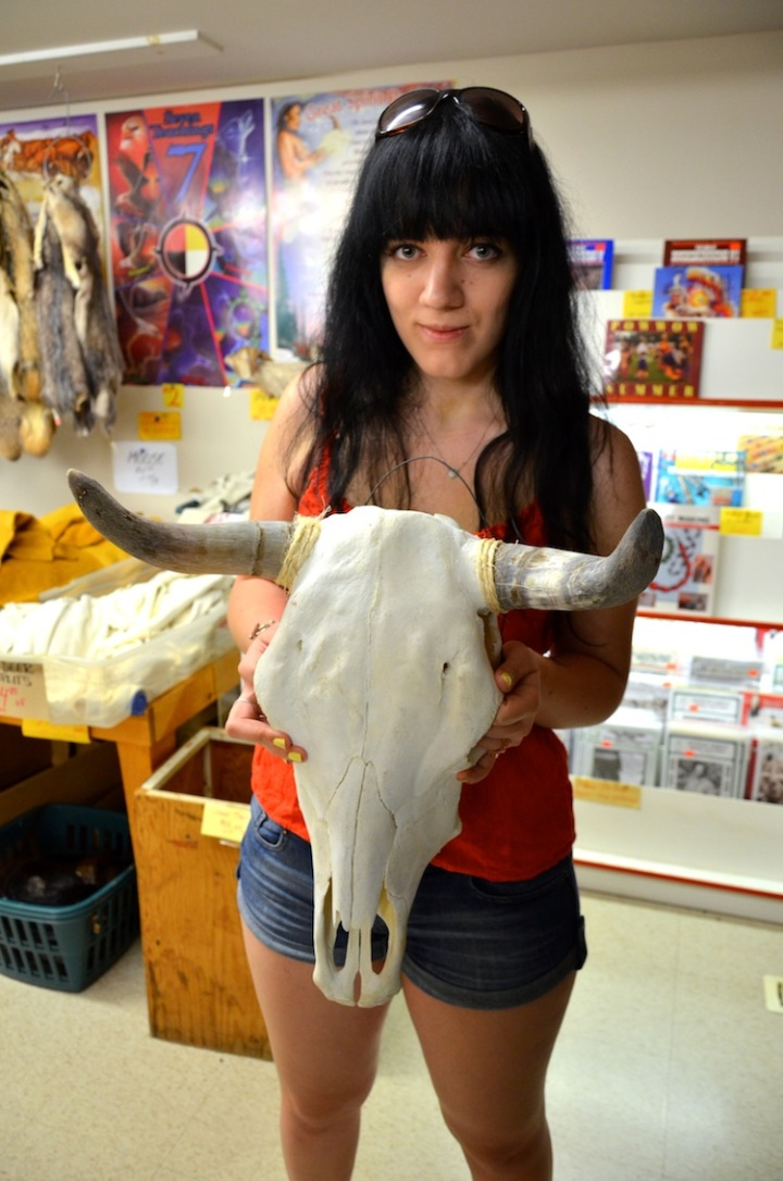 sage with cow skull