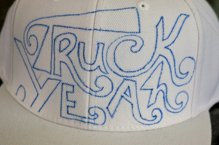 truck yeah hat white outline