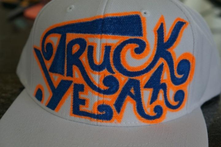 truck yeah hat white