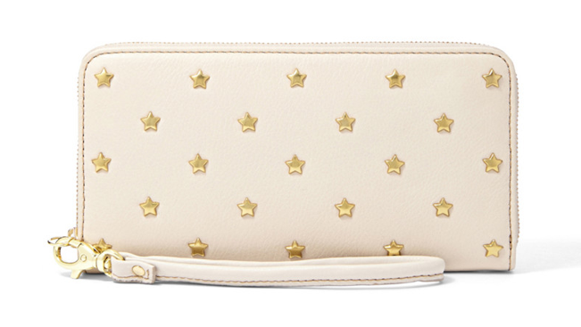fossil phone wallet clutch white with stars