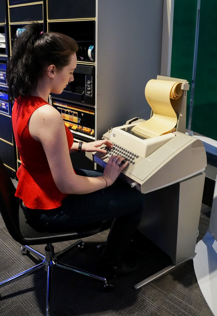 Sage using a teletype at the Living Computer Museum