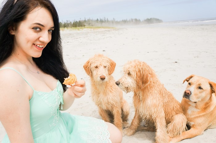 sage_teal_guess_dress_puppies_beach_2