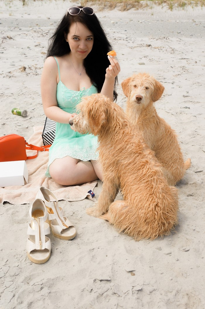sage_teal_guess_dress_puppies_beach_3