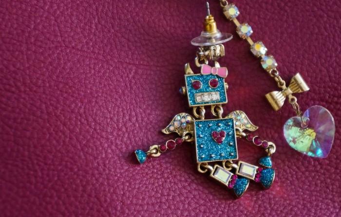 Betsey Johnson robot and heart earrings